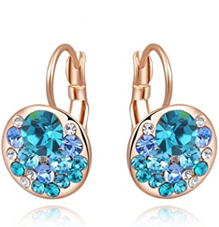 Henraly 4 Colors Round Stone Zircon Earrings Fashion Jewelry Best Gift for Woman Bijoux