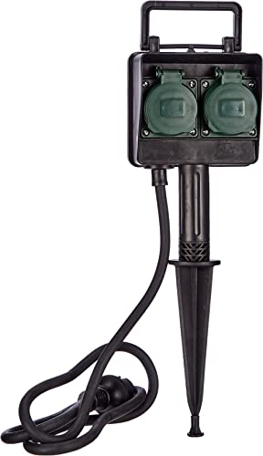 Brennenstuhl H07RN-F3G1,5 1154430 - Toma de enchufes de jardín con estaca (2 tomas de corriente, cable de 1,4 m)