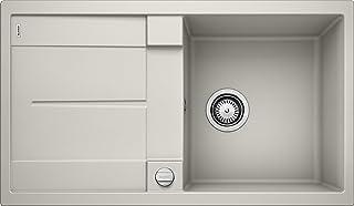 BLANCO METRA 5 S – Rechteckige Granitspüle aus SILGRANIT für die Küche – für 50 cm breite Unterschränke – Mit integrierter Abtropffläche – grau – 520571