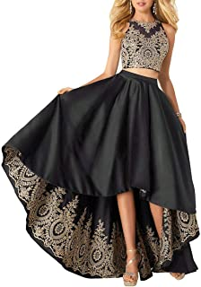 MKbridal Women's Hi-Low Lace Applique A-line 2 pc Formal Prom Gown W/ Pockets