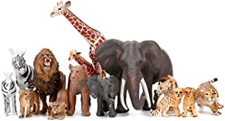 Safari Zoo Animals Figures Toys, 14 Piece Realistic Jungle Animal Figurines, African Wild Animals with Lion, Elephant, Gir...