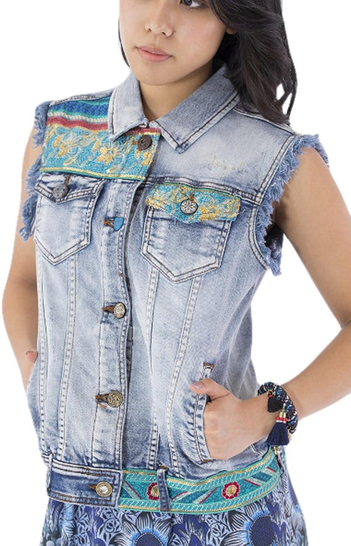 Desigual Womens Agnese Embroidered Detail Denim Jacket Denim Jacket