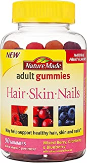 Nature Made Hair, Skin, Nails Adult Gummies Mixed Berry, Cranberry & Blueberry - 90 Gummies, Pack of 4