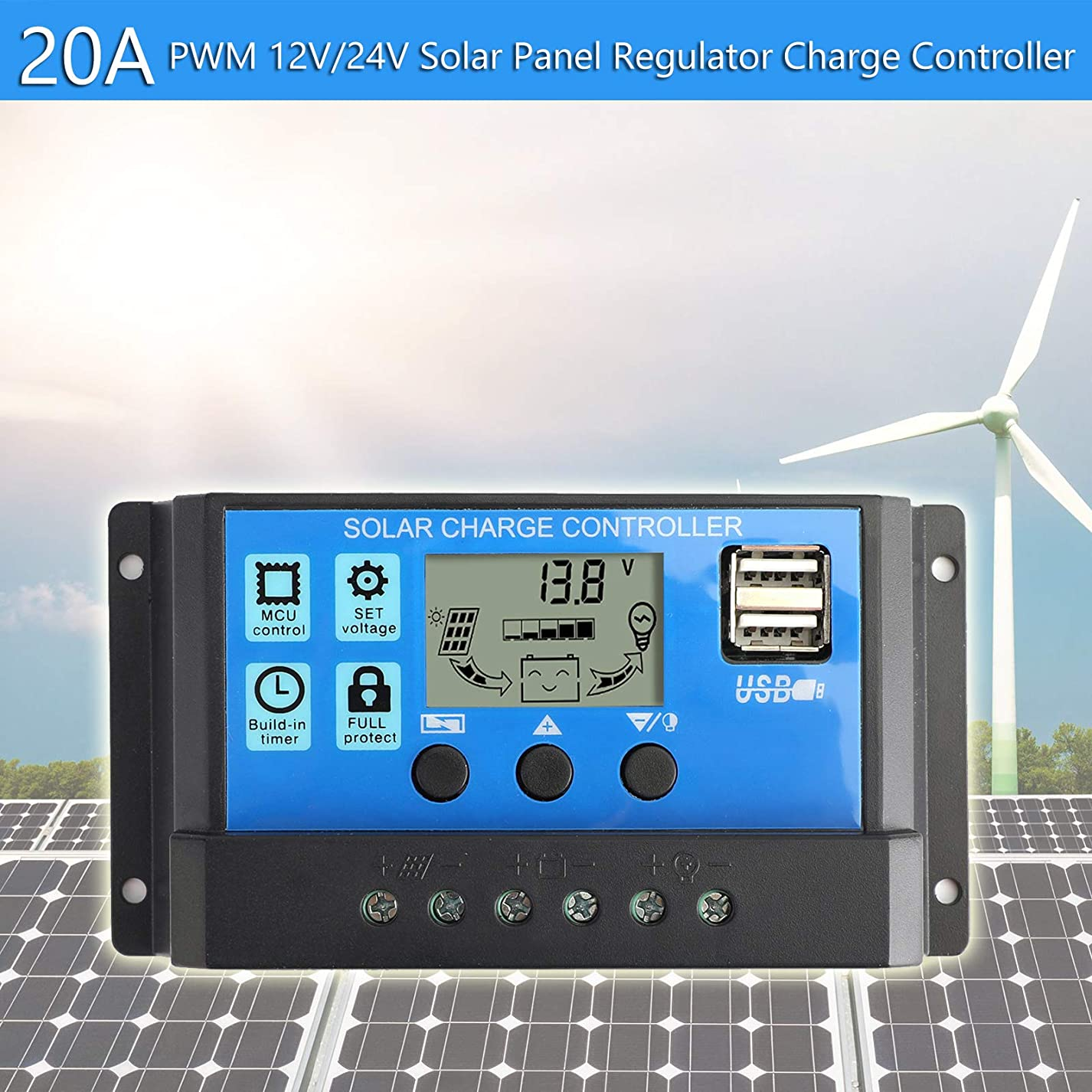 秋最初干ばつArtudatech 20A ソーラー パネル バッテリー レギュレーター チャージ コントローラー PWM LCD デュアル USB 12V/24V