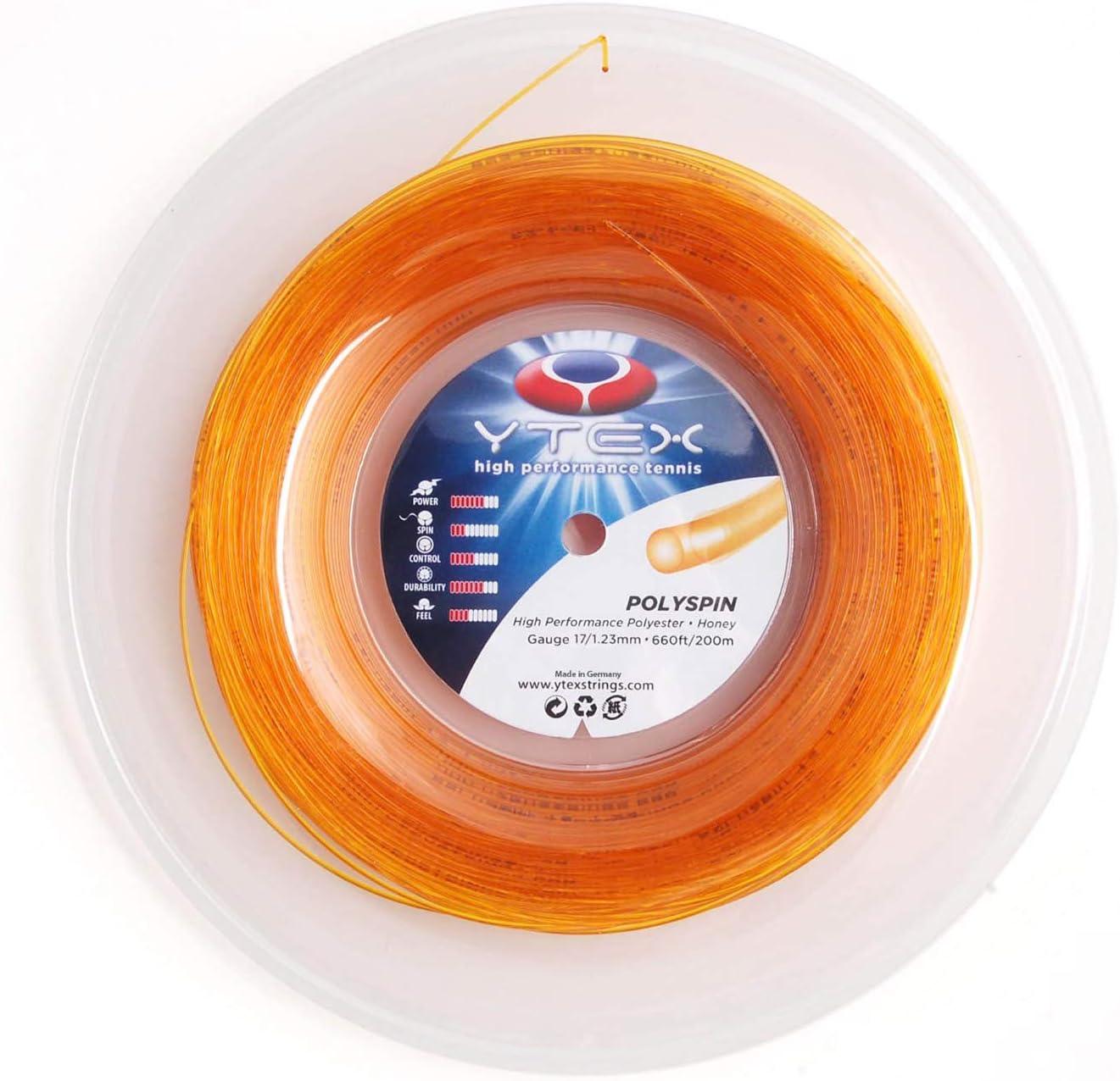 YTEX Polyspin Honey Max 81% OFF Fashionable Tennis Racquet Gauge 17 String 1.23mm