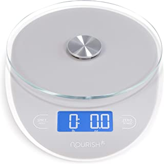 Nourish High-Accuracy Digital Food Coffee Scale. Weight in 0.5 grams, oz, ml. Large Single Sensor Glass Top, Precision Kitchen Measuring. Backlit Display. Food Scale / Kitchen Scale / Coffee Scale