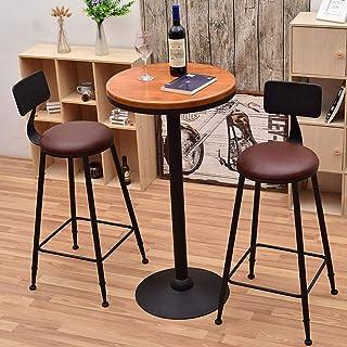 Sillas de la cocina del hogar de la sala de sillas Simples Estilo retro del arte del hierro Sillas Moda Bar heces sólidas de madera con respaldo creativo del contador de cocina Sillas ajustes for Cafe