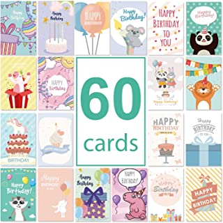 Hotcinfin Happy Birthday Cards Assortment Boxed Set, Bulk Assorted 60 Design Greeting Gift Cards With Envelopes,Stickers-F...