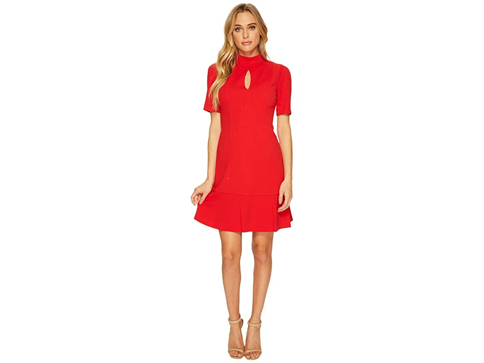 Donna Morgan Short Sleeve Drop Waist Crepe Dress with Keyhole (Red) Women