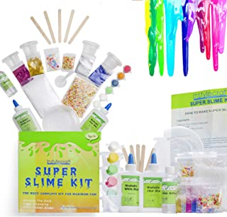 DIY Slime Kit –Learn how to make slime! Make Glow-In-The Dark, Clear, Neon and Glitter Slime – Perfect Gifting Option! Comes With Easy To Make Recipes! Super Slime Making Kit for Boys & Girls!