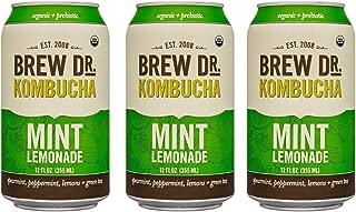 Brew Dr, Mint Lemonade, Raw Organic Kombucha, 12 Fl oz Can (3 Pack)