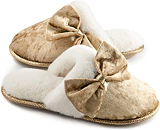 ZIZOR Women's Cozy Memory Foam Slippers with Bow, Ladies' Fuzzy Slip on Scuff House Shoes with Indoor Anti-Skid Sole