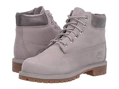 Timberland Kids 6 Premium Waterproof Boot (Little Kid) (Light Grey Nubuck) Girls Shoes