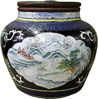 Vase & Plate Chinese Zisha Clay Color Scenery Container Jar cs2637
