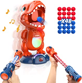 Movable Dinosaur Shooting Toys for Kids Target Shooting Games with 2 Air Pump Gun, Party Toys with Score Record, LED & Sound, 48 Foam Balls Electronic Target Practice Toys Gift for Boys and Girls
