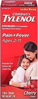 Tylenol Children`s Pain Reliever/fever Reducer Oral Suspension Liquid, Cherry Flavor 4 Oz (Pack of 2)