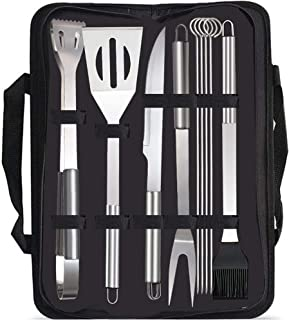 Barbecue Gril Tools, Rumanle 9-Pack BBQ Utensils Stainless Steel BBQ Tool Set Camping Outdoor Cooking Tools Heavy Duty Bar...