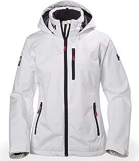 Women's Crew Midlayer Fleece Lined Waterproof Windproof Breathable Sailing Rain Coat Jacket with Stowable Hood
