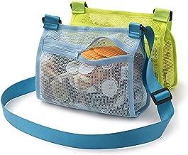 Tenrai Seashell Mesh Tote, Shell Bag, Beach Toy Bag, Toy Bags, Kids Sandboxes, Nets Bag (Blue & Green, 2 Packs)