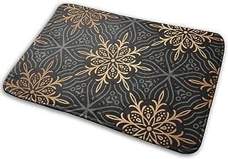 LodiSFOA Monogram Luxury Gold Mandala Pattern Welcome Door Mat Floor Mat Carpet Non Slip Rugs Entrance/Indoor/Outdoor/Front Door/Bathroom Mats Home Decor