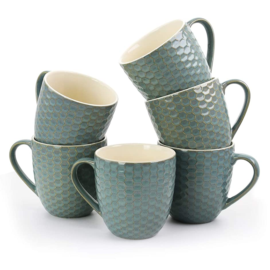 Elama EL-HONEYCOMBTURQUOISE Honeycomb 6-Piece 15 oz. Mug Set, in Turquoise, 15oz,