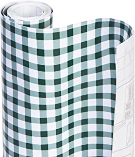 Smart Design Shelf Liner w/Adhesive - Wipes Clean - Cutable & Removable Material - Easy Peel Design - Shelves, Drawers, Flat Surfaces - Kitchen (18 Inch x 20 Feet) [Hunter Green Gingham]