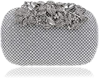 Fine Bag/Unique Women's Banquet Bag Crystal Diamond Clutch Bag Wallet Party Bride Dance Multifunction Bag Elegant (Color : Silver, Size : One Size)