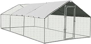 Walk-in Steel Chicken Coop Run Enclosure Rabbit Hutch Outdoor Duck Hen House 6X3M