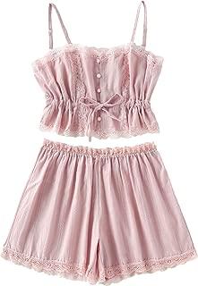 Women's Lace Cami and Shorts Pajamas Set Sleepwear Nightwear