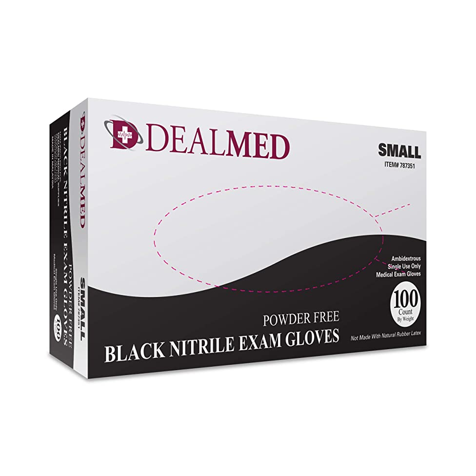 Dealmed Brand Nitrile Medical Exam Gloves, Disposable, Latex Free, Black, 100 Count, Size Small