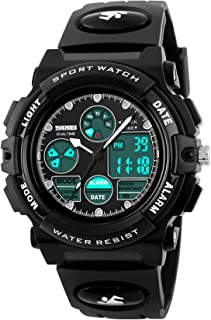 Kids Digital Analog Watch Military Sport Outdoor Big Face Black Wrist Watches Alarm Stopwatch Back Light Calendar Dual Time