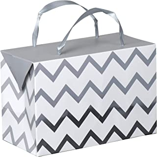 Silver Chevron Paper Gift Bag Box–Foldable Party Favors Foil Stamped Treat Bags with Ribbon Handles for Baby Shower, Holiday and Birthday Parties 7