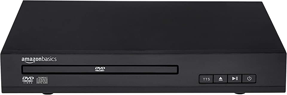 Amazon Basics Mini DVD Player with Text-To-Speech Technology, RCA and Remote Control - Black