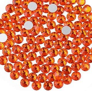 Beadsland 1440 Piece Flat Back Crystal Rhinestones Round Gems,1.3mm-6.5mm, Orange(SS10(2.7-2.8mm))