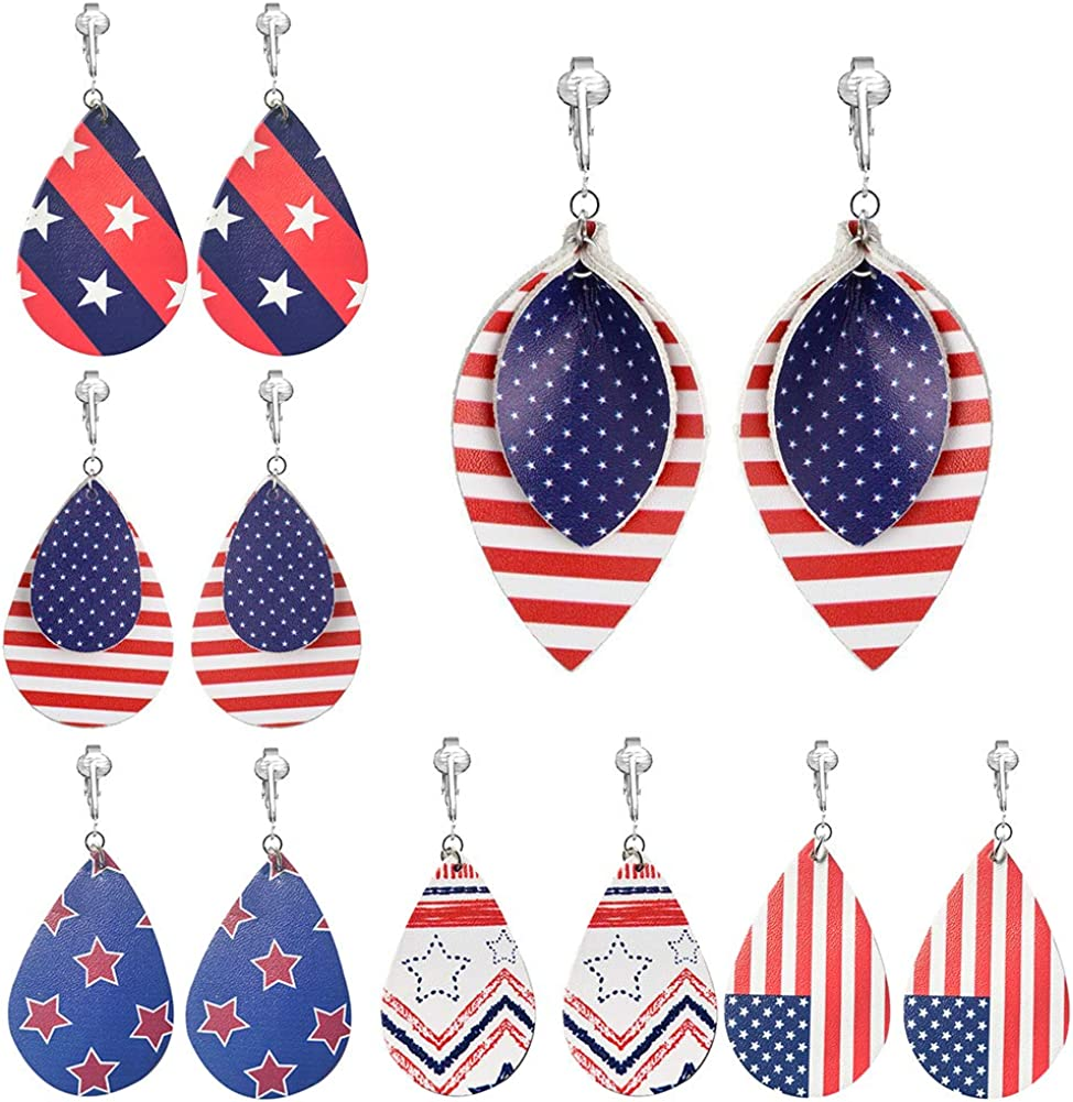 6 Pairs American Flag Clip on Earrings Faux Leather U.S. Presidential Campaign Drop Clipon Earrings for Women Teen Girls
