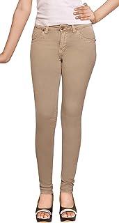 ADBUCKS Beige Stretchable Cotton Lycra Womens Jeans