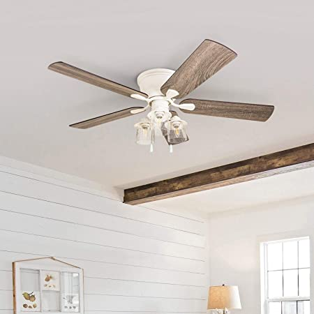 Amazon Com 52 Inch Coastal Indoor Led Ceiling Fan With Pull Chains 5 Reversible Blades White Bohemian Eclectic Mission Craftsman Nautical Glass Metal Wood Home Kitchen