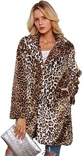 Leopard Sexy Faux Fur Coat Long Sleeve Lapel Overcoat Winter Warm Parka Jacket Faux Fur Jacket Coat