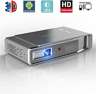LED Video Projector, 1280x800 3D DLP Link Android Smart Projector, 3800 Lumens, Support 1080P Full HD, Wireless Screen Sha...