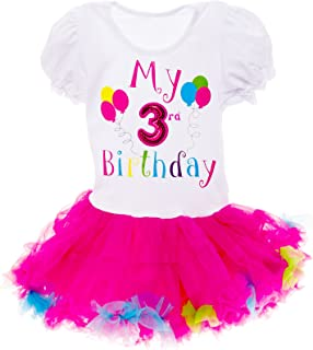 Silver Lilly Baby Girls Birthday Outfit - Its My Birthday Printed Tutu Dress for Toddlers