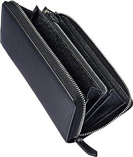 [TSHUO] 財布 メンズ 長財布 カーボンレザー YKK製 ラウンドファスナー 大容量 セパレート型 小銭入れ