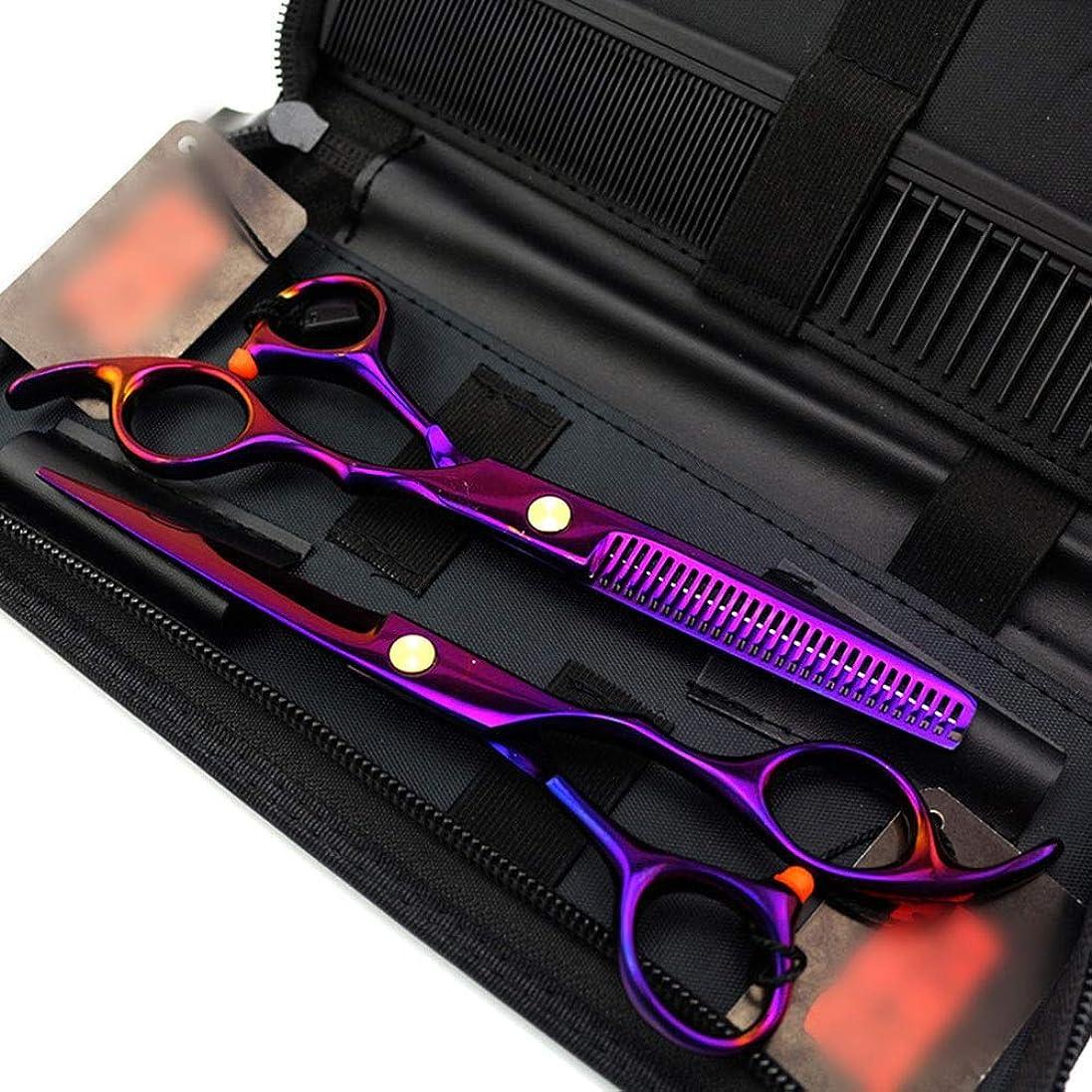 衛星ぼかす決してカットハサミ ヘアスタイリングツール 6インチプロフェッショナル理髪セットパープル理髪はさみ、フラットせん断+歯シザー ヘアカットシザー (色 : 紫の)