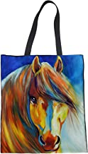 UNICEU Women's Canvas Tote Bag Reusable Oil Painting Horse Grocery Shoulder Bags,Shopping,Travel Handbag,Schoolbag