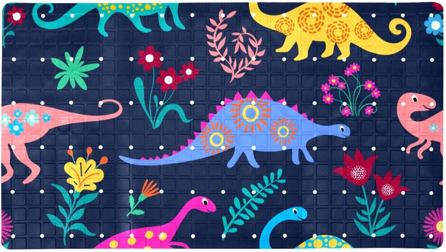 Bath Tub 5 ☆ popular Shower Mat Dinosaurs-Blue-Pattern Ranking TOP9 Prin 15.7x27.9 inches