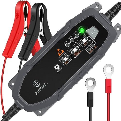 AUTOXEL Chargeur de Batterie Intelligent 6V/12V 3.8A, Compensation Automatique de la Température, Mainteneur Automati...