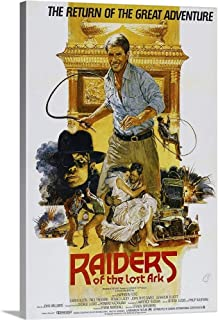 GREATBIGCANVAS Gallery-Wrapped Canvas Raiders of The Lost Ark, British Poster Art, Harrison Ford, (Center), 1981 by 12