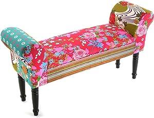 Versa 19500285_multicolor Taburete Pie de Cama con Apoyabrazos Pink Patchwork Banco, Rosa/ Rojo/ Verde / Azul