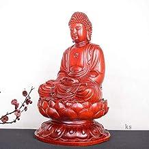 Handmade Mahogany Shakyamuni Statue Figurine,Classical Ming and Qing Buddha Sculpture Crafts Ornament,Handmade Laughing Bu...