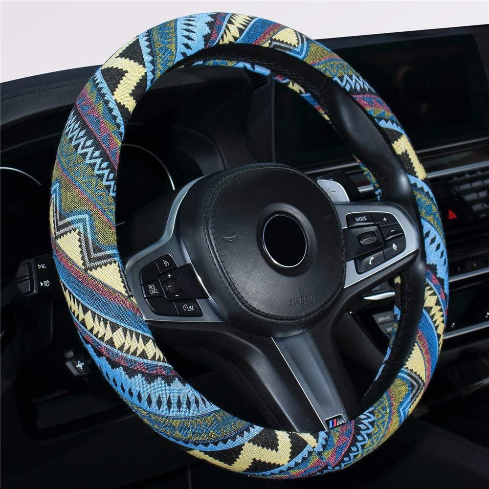Istn Medium Ethnic Style Coarse Flax Cloth Automotive Steering Wheel Cover Anti Slip and Sweat Absorption Auto Car Wrap Cover 14.5-15,E