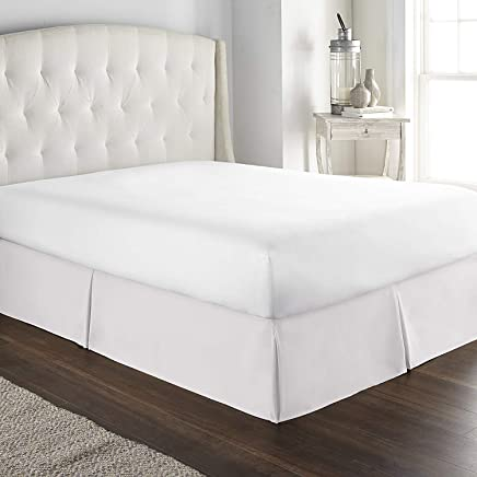 sculpture Queen Bed Skirt 16 inch Drop 600-Thread Count 100% Long Staple Cotton 1pc Split Corner Bed Skirt Queen Size 16 inch Drop White with Plates Bed Types (Queen 60x80 - 16,  White)